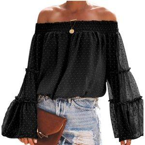 Tops - Off The Shoulder Smocked Loose Blouse Top